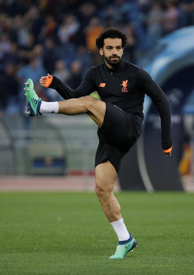 Soccer Football - Champions League Semi Final Second Leg - AS Roma v Liverpool - Stadio Olimpico, Rome, Italy - May 2, 2018 Liverpool's Mohamed Salah during the warm up before the match REUTERS/Max Rossi