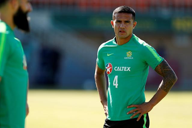 Soccer Football - World Cup - Australia Training - Australia Training Camp, Kazan, Russia - June 18, 2018 Australia's Tim Cahill during training REUTERS/John Sibley
