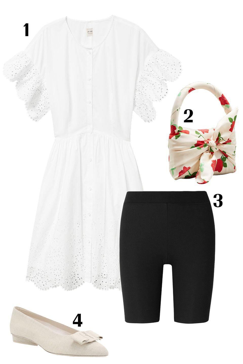 "<p>A white eyelet babydoll is quintessential summertime piece. While this mini-dress can be worn solo, pair with biker shorts, and leave unbuttoned from the waist down to give it an extra twist. Pointed-toe flats will give it a polished touch and are an elegant, yet practical summertime shoe choice. </p><p>1) <a href=""https://www.rebeccataylor.com/la-vie-etienne-eyelet-dress/220195D415.html?dwvar_220195D415_color=MILK&cgid=dresses-and-jumpsuits#start=1"" rel=""nofollow noopener"" target=""_blank"" data-ylk=""slk:Rebecca Taylor dress"" class=""link rapid-noclick-resp"">Rebecca Taylor dress</a>, $325 2) <a href=""https://www.bergdorfgoodman.com/p/bernadette-belinda-floral-print-satin-top-handle-bag-prod152170026?ecid=BGAF__ShopStyle+(US)&utm_medium=affiliate&utm_source=BGAF__ShopStyle+(US)"" rel=""nofollow noopener"" target=""_blank"" data-ylk=""slk:Bernadette bag"" class=""link rapid-noclick-resp"">Bernadette bag</a>, $695 3)<a href=""https://www.net-a-porter.com/en-us/shop/product/atm-anthony-thomas-melillo/ribbed-stretch-micro-modal-shorts/1129728"" rel=""nofollow noopener"" target=""_blank"" data-ylk=""slk:ATM Anthony Thomas Melillo shorts"" class=""link rapid-noclick-resp""> ATM Anthony Thomas Melillo shorts</a>, $175 4) <a href=""https://www.saksfifthavenue.com/salvatore-ferragamo-viva-bow-knit-ballerina-flats/product/0400011996055?site_refer=CSE_GGLPLA:Womens_Shoes:Salvatore+Ferragamo&CSE_CID=G_Saks_PLA_US_Women%27s+Shoes:Flats&gclid=Cj0KCQjwm9D0BRCMARIsAIfvfIapKI_7mmg5dHi2QlTZh_kvgKs3ifGLl4aG19DTPBwrpwAarcwQOd4aAv5dEALw_wcB&gclsrc=aw.ds"" rel=""nofollow noopener"" target=""_blank"" data-ylk=""slk:Salvatore Ferragamo flats"" class=""link rapid-noclick-resp"">Salvatore Ferragamo flats</a>, $675 </p>"