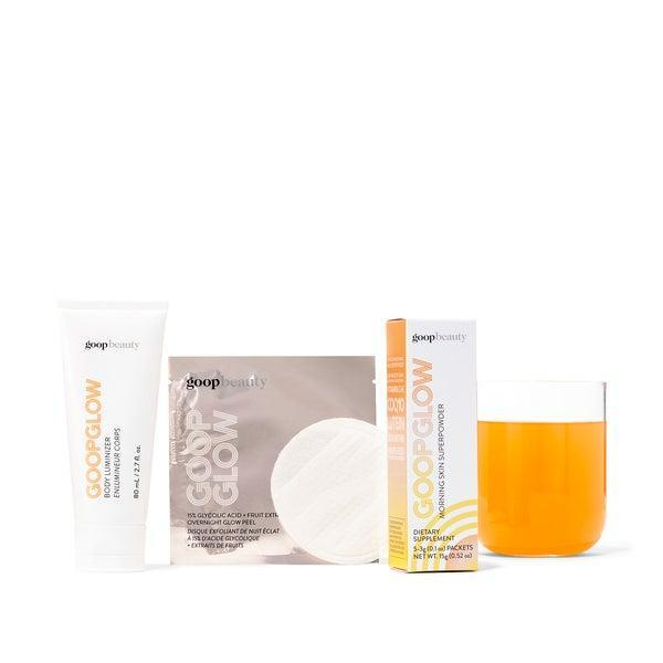 """<h3>Goop Glow Starter Kit</h3> <br>Be the Gwyneth Paltrow to your mom's Blythe Danner and get her the Goop Glow set, complete with a peel pad, body luminizer, and single-use packets of the brand's Morning Skin Superpowder.<br><br><strong>goop Beauty</strong> Goop Glow Starter Kit, $, available at <a href=""""https://go.skimresources.com/?id=30283X879131&url=https%3A%2F%2Fshop.goop.com%2Fshop%2Fproducts%2Fgoop-glow-starter-kit%3Ftaxon_id%3D603%26country%3DUSA"""" rel=""""nofollow noopener"""" target=""""_blank"""" data-ylk=""""slk:goop"""" class=""""link rapid-noclick-resp"""">goop</a><br>"""
