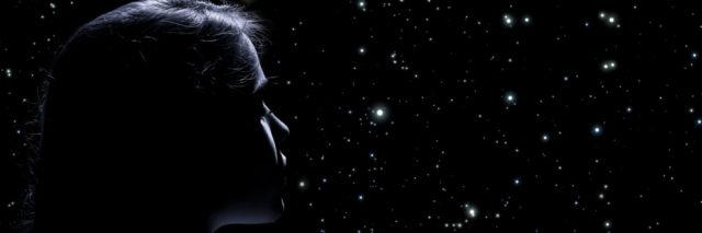 Woman looking at the stars.