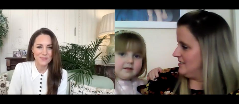 Kate Middleton speaks with mother Vicky Jones and her three-year-old daughter Isla via zoom
