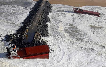 Aerial view of Spanish cargo ship carrying fertiliser broken in two, in Anglet