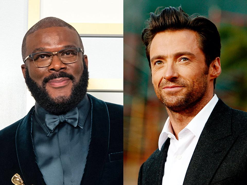 Hugh Jackman praises Tyler Perry after mogul's Oscars speech while accepting the Jean Hersholt Humanitarian Award during 2021 telecast.