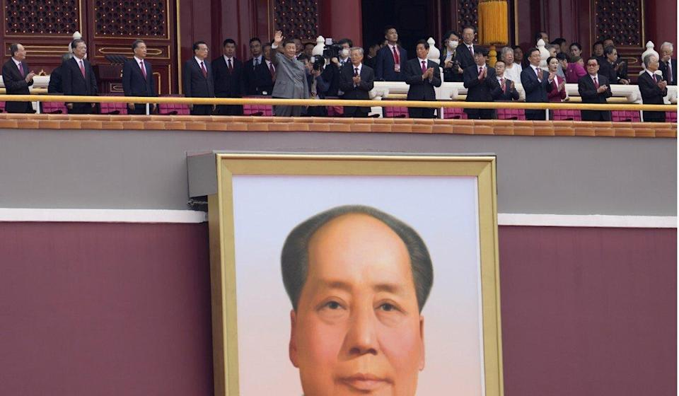 Many former leaders appeared at the Gate of Heavenly Peace with Xi Jinping. Photo: AP
