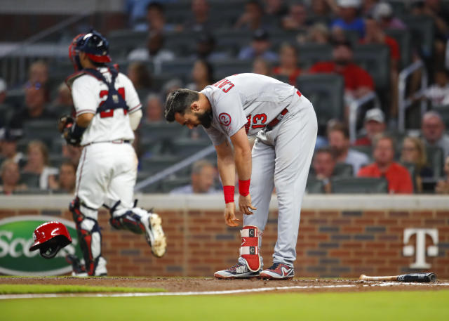 St. Louis Cardinals Matt Carpenter (13) reacts after striking out during the fifth inning of the team's baseball game against the Atlanta Braves, Tuesday, Sept. 18, 2018, in Atlanta. (AP Photo/Todd Kirkland)