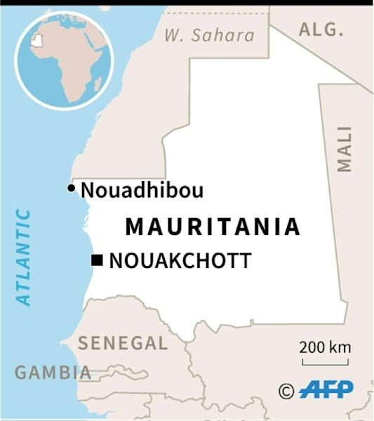 Map of Mauritania locating Nouadhibou where survivors were being treated in hospital after more than 50 migrants drowned when their boat sank off the coast. (AFP Photo/)