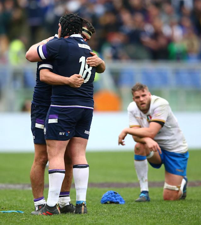 Rugby Union - Six Nations Championship - Italy vs Scotland - Stadio Olimpico, Rome, Italy - March 17, 2018 Scotland's Zander Fagerson and Hamish Watson celebrate at the end of the match REUTERS/Alessandro Bianchi