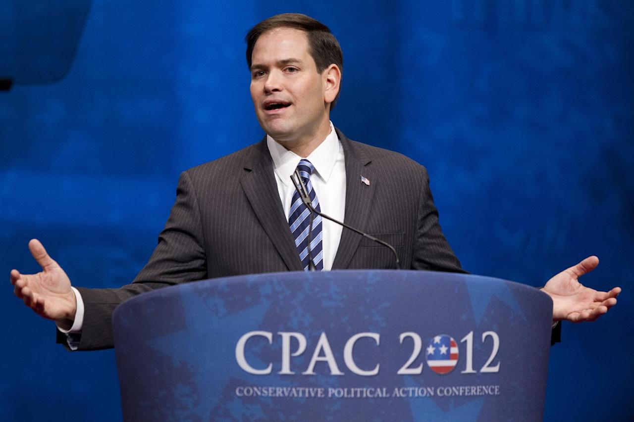 "FILE - Sen. Marco Rubio, R-Fla., addresses the Conservative Political Action Conference (CPAC) in Washington, in this Feb. 9, 2012 file photo. The Florida senator and potential Republican presidential hopeful will argue in remarks Wednesday Nov. 2013 at the conservative American Enterprise Institute in Washington that diplomacy and foreign aid should ""vastly outnumber"" the country's uses of military force, according to excerpts provided to The Associated Press. (AP Photo/J. Scott Applewhite, File)"