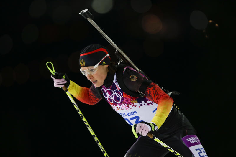 Germany's Evi Sachenbacher-Stehle skis during the women's biathlon 12.5k mass-start, at the 2014 Winter Olympics, Monday, Feb. 17, 2014, in Krasnaya Polyana, Russia. (AP Photo/Felipe Dana)