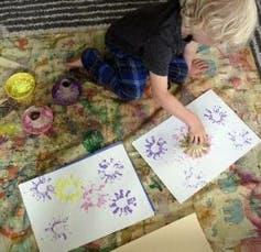 """<span class=""""caption"""">Use interesting objects from around the house to create stamps.</span> <span class=""""attribution""""><a class=""""link rapid-noclick-resp"""" href=""""https://www.dca.org.uk"""" rel=""""nofollow noopener"""" target=""""_blank"""" data-ylk=""""slk:Dundee Creative Arts"""">Dundee Creative Arts</a>, <span class=""""license"""">Author provided</span></span>"""