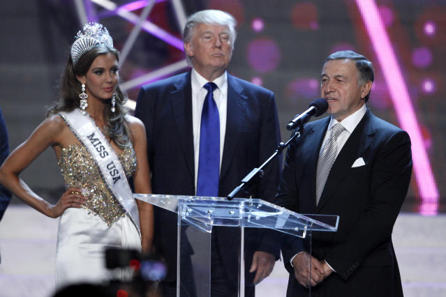 Miss USA Erin Brady, Donald Trump and Aras Agalarov in Las Vegas, June 16, 2013. (Photo: Steve Marcus/Reuters)