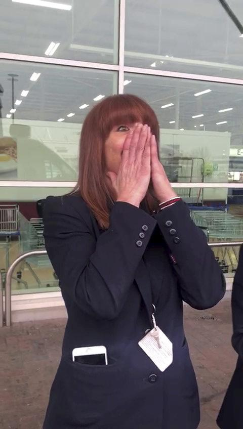 Godsmacked Gaynor was lured outside by work colleagues who knew what Mike was planning (Picture: SWNS)