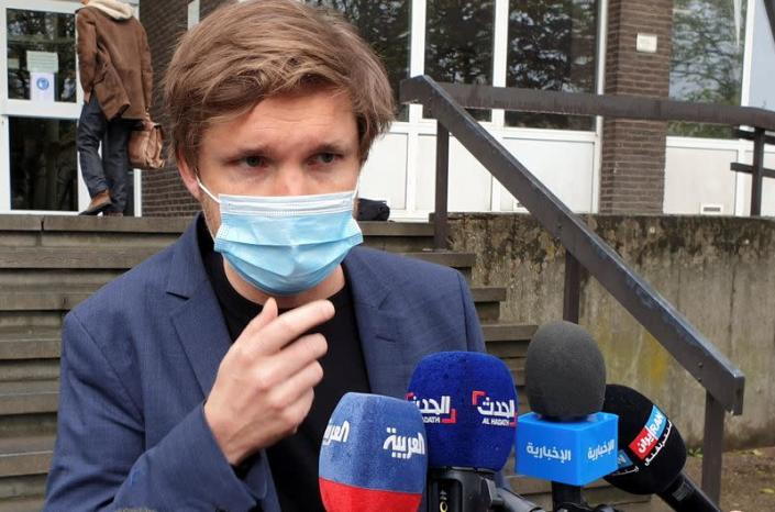 Belgian lawyer Dimitri de Beco, representing Iranian diplomat Assadollah Assadi, speaks to the media outside a court building in Antwerp