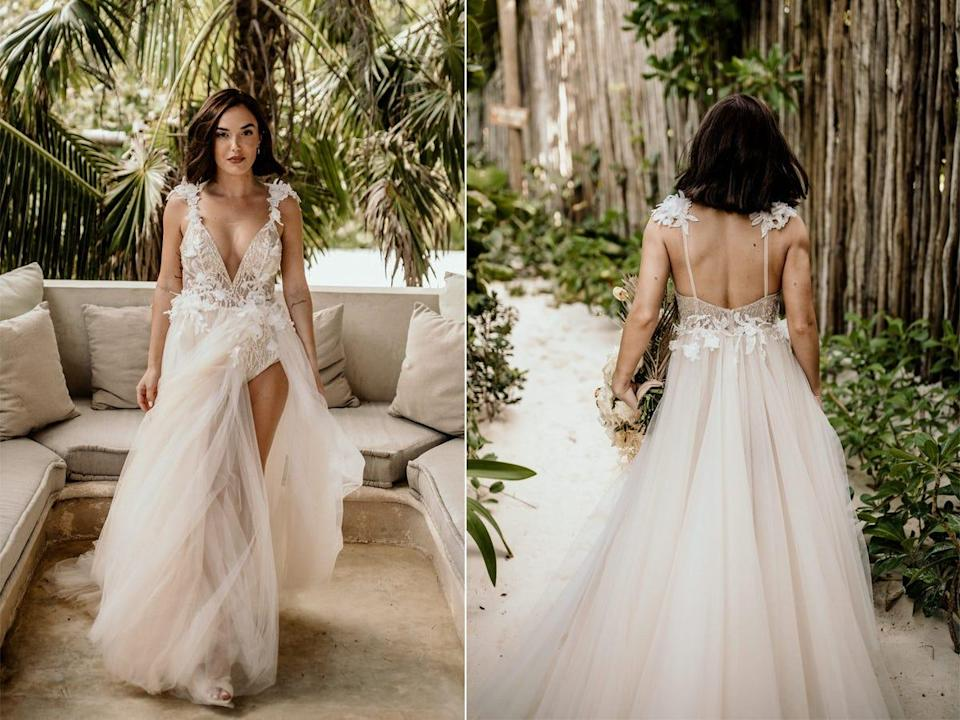 A front and back view of Thaina Bak's wedding dress