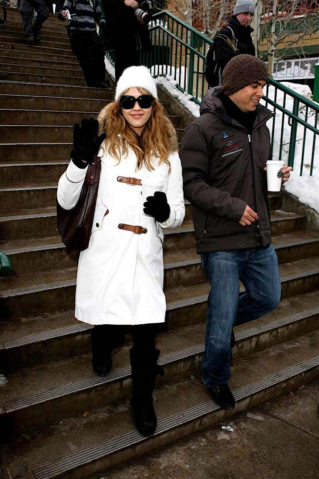 "Sundance can also be an excuse for Hollywood stars like Jessica Alba (with fiance Cash Warren) to don cute winter coats and hats that they don't normally get to wear in L.A. AlphaX/<a href=""http://www.x17online.com"" target=""new"">X17 Online</a> - January 21, 2008"