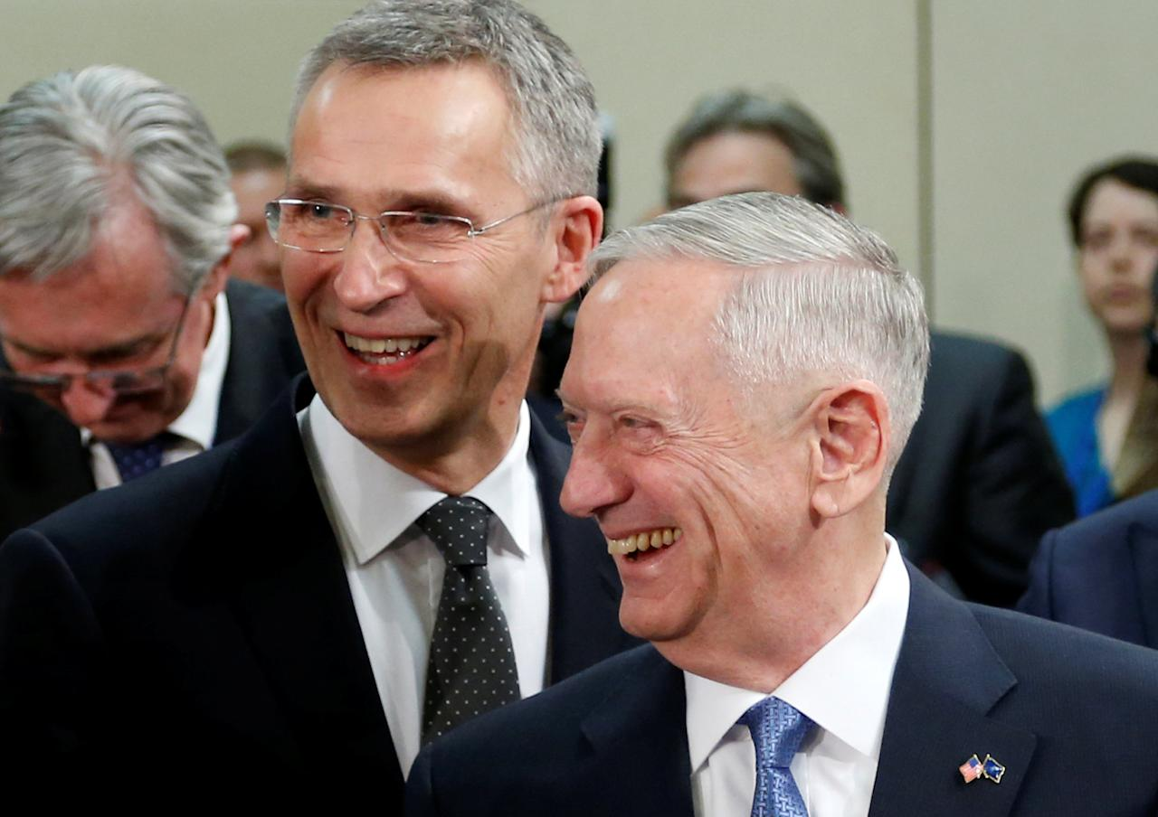NATO Secretary-General Jens Stoltenberg and U.S. Defense Secretary Jim Mattis attend a NATO defence ministers meeting at the Alliance headquarters in Brussels, Belgium, February 15, 2017. REUTERS/Francois Lenoir