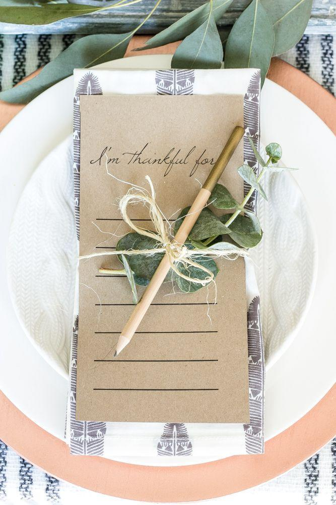"""<p>Download and print this free template and give loved ones a place to count their blessings.</p><p><strong>Get the tutorial at <a href=""""https://www.blesserhouse.com/green-and-copper-thanksgiving-tablescape-printable/"""" rel=""""nofollow noopener"""" target=""""_blank"""" data-ylk=""""slk:Bless'er House"""" class=""""link rapid-noclick-resp"""">Bless'er House</a>.</strong></p>"""