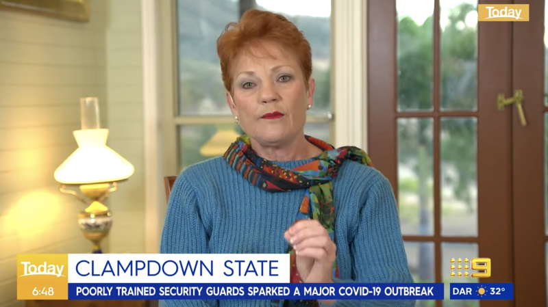 Pauline Hanson insinuated people not being able to speak English was the reason for the lockdown. Source: Nine News