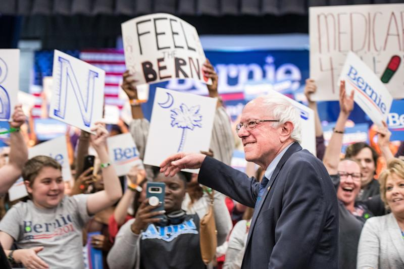 2020 Democratic presidential candidate Senator Bernie Sanders greets the crowd on March 14, 2019, in North Charleston, South Carolina.