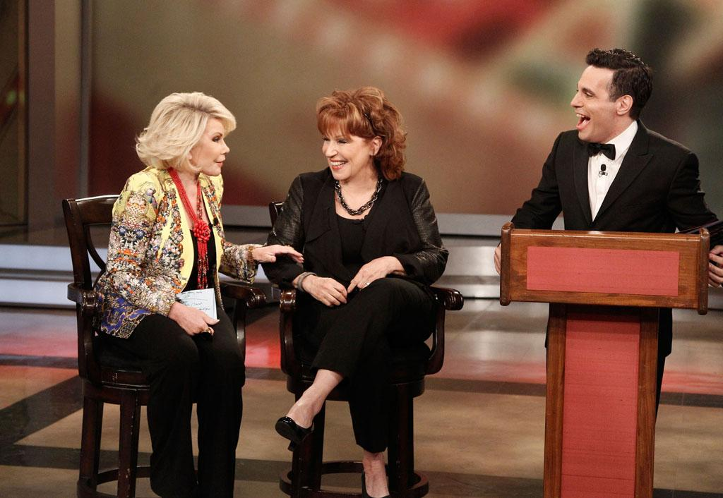 "Joan Rivers, Joy Behar, and Mario Cantone on Joy's final episode as co-host of ABC's ""The View"" on Friday, August 9, 2013."