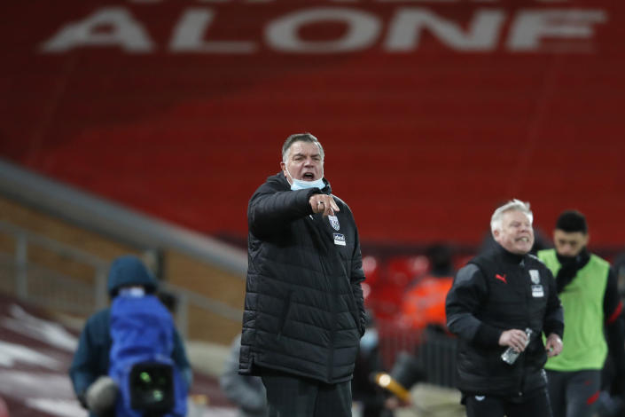 West Bromwich Albion's manager Sam Allardyce shouts during an English Premier League soccer match between Liverpool and West Bromwich Albion at the Anfield stadium in Liverpool, England, Sunday Dec. 27, 2020. (Clive Brunskill/Pool via AP)