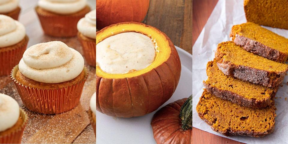 """<p>As much as we love pumpkin at <a href=""""https://www.delish.com/uk/cooking/recipes/g34022642/halloween-food-ideas/"""" rel=""""nofollow noopener"""" target=""""_blank"""" data-ylk=""""slk:Halloween"""" class=""""link rapid-noclick-resp"""">Halloween</a>, we're also big fans of eating the iconic squash all throughout autumn. Whether it's blended into a creamy <a href=""""https://www.delish.com/uk/cooking/recipes/a28784904/easy-pumpkin-soup/"""" rel=""""nofollow noopener"""" target=""""_blank"""" data-ylk=""""slk:pumpkin soup"""" class=""""link rapid-noclick-resp"""">pumpkin soup</a>, baked into a batch of <a href=""""https://www.delish.com/uk/cooking/recipes/a33749990/pumpkin-spice-chocolate-chip-cookies-recipe/"""" rel=""""nofollow noopener"""" target=""""_blank"""" data-ylk=""""slk:pumpkin chocolate chip cookies"""" class=""""link rapid-noclick-resp"""">pumpkin chocolate chip cookies</a> or even slipped into a <a href=""""https://www.delish.com/uk/cooking/recipes/a34188107/pumpkin-carbonara-recipe/"""" rel=""""nofollow noopener"""" target=""""_blank"""" data-ylk=""""slk:pumpkin carbonara"""" class=""""link rapid-noclick-resp"""">pumpkin carbonara</a>, it's delicious all-year-round. Need some inspo? We've got 33 insanely easy pumpkin recipes for you to check out (sweet and savoury options). </p>"""