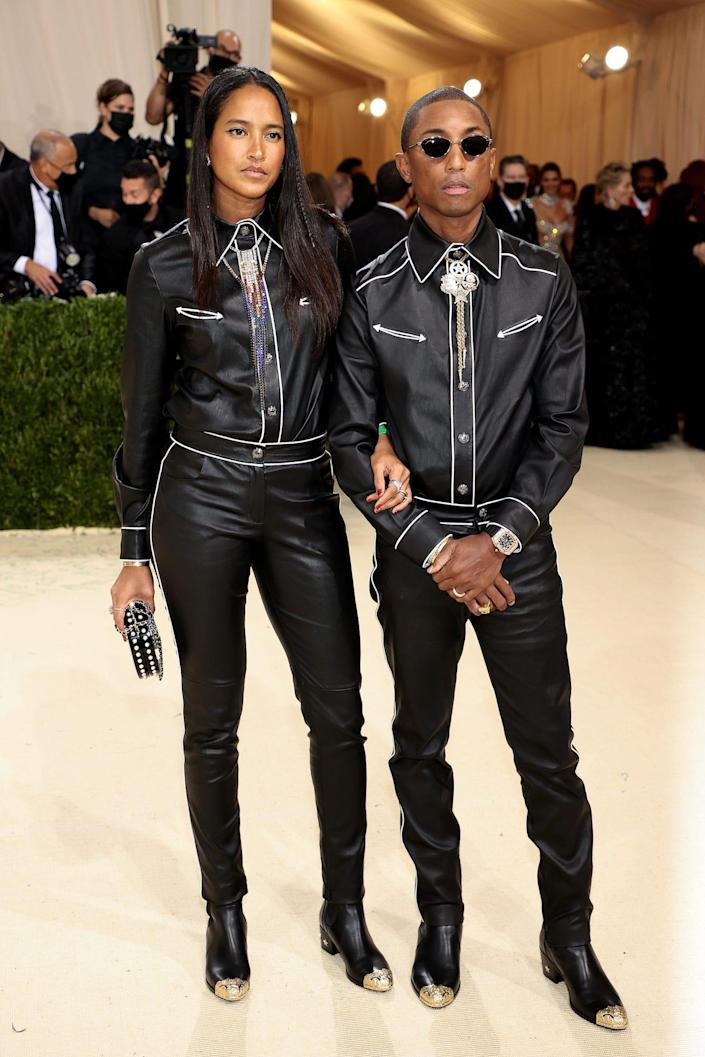 Pharrell Williams and Helen Lasichanh at the 2021 Met Gala.