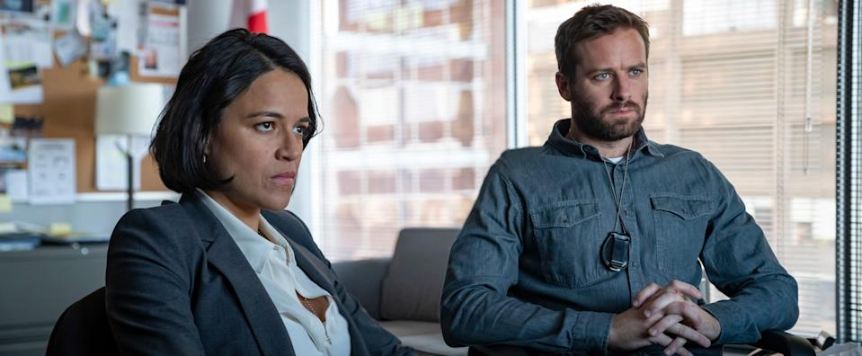 "Michelle Rodriguez and Armie Hammer star as federal agents looking to bust a Canadian drug ring in the opioid drama ""Crisis."""