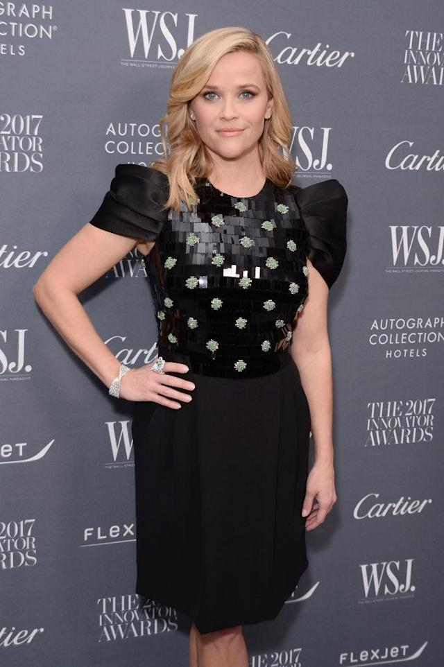 Reese Witherspoon is recognized at the WSJ. Magazine 2017 Innovator Awards. (Photo: Andrew Toth/Getty Images for WSJ. Magazine 2017 Innovator Awards)