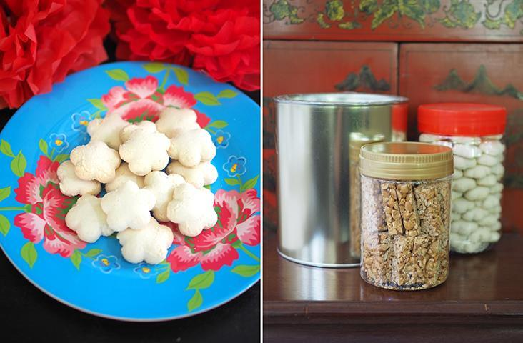 'Kuih bangkit' has a melt-in-the-mouth texture with a nice fragrance from the Lim family stall (left). The 'kuih kapit' is stored in a recycled Milo tin to keep it airtight while the other cookies are packed in plastic jars (right)