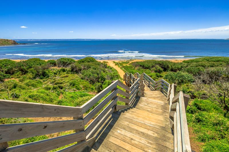 Wooden stairs to Ventnor beach, Phillip Island, Victoria Australia.