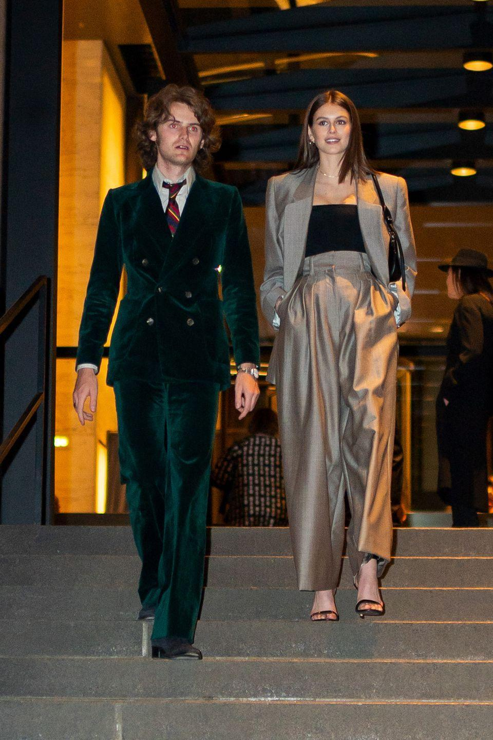 <p>The model rocked a suit at Jacobs's wedding.</p>
