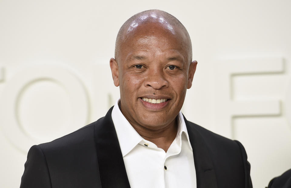 Dr. Dre attends the Tom Ford show at Milk Studios during NYFW Fall/Winter 2020 on Friday, Feb. 7, 2020, in Los Angeles. (Photo by Jordan Strauss/Invision/AP)