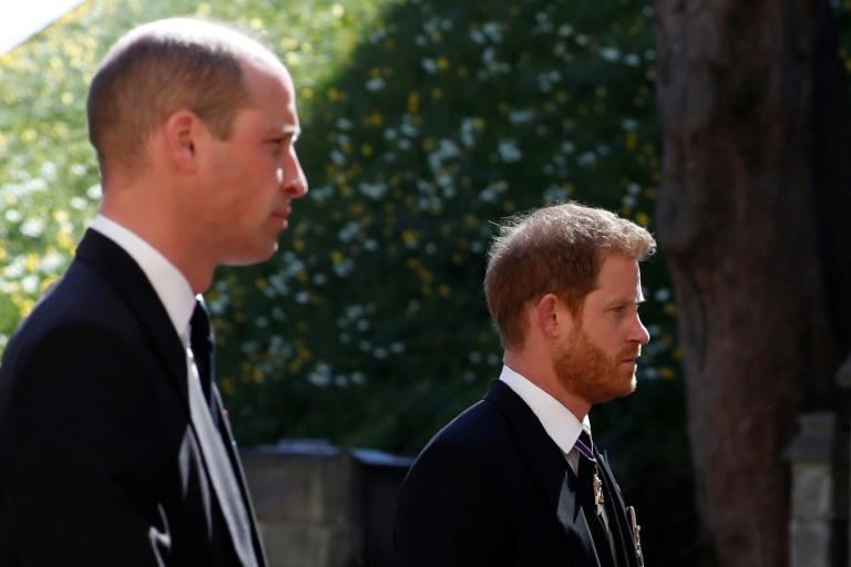 William (l) and Harry talked privately after the funeral of their grandfather Prince Philip, Duke of Edinburgh, in April