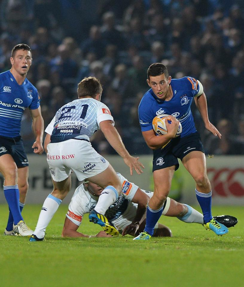 Leinster Rugby's Noel Reid in action with Cardiff Blues John Cooney (left) during the RaboDirect PRO12 match at the RDS Arena, Dublin, Ireland.