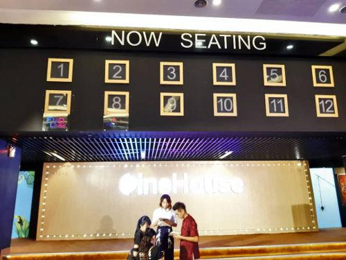 Find out if your hall is ready for your movie at the 'Now Seating' indicator.