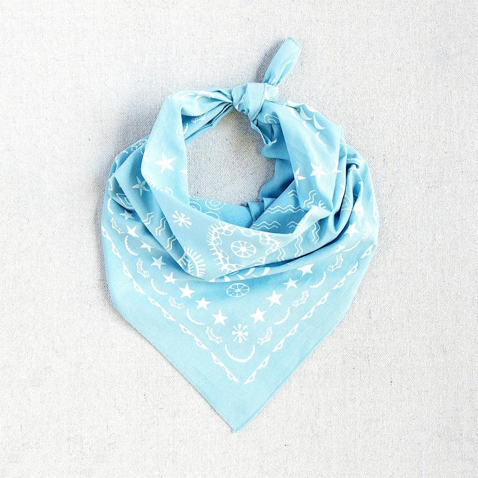 "<br><br><strong>maryink</strong> Light Blue Cotton Bandana, Hand Printed & Made in USA, $, available at <a href=""https://go.skimresources.com/?id=30283X879131&url=https%3A%2F%2Fwww.etsy.com%2Flisting%2F862324815%2Flight-blue-bandana-four-elements-design"" rel=""nofollow noopener"" target=""_blank"" data-ylk=""slk:Etsy"" class=""link rapid-noclick-resp"">Etsy</a>"