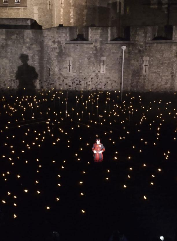 A beefeater stands among the flames in the Tower of London's moat (Gavin Goodhart)
