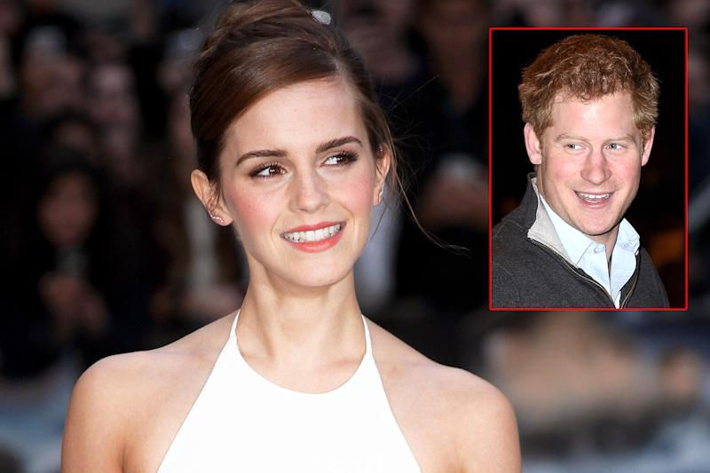 Emma Watson, (inset) Prince Harry | Photo Credits: Corbis; Splash