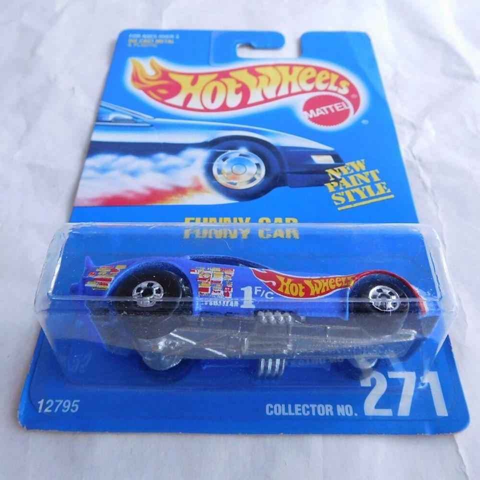 """<p>Chances are there are at least a dozen Hot Wheels cars hiding in random corners of your family home, and if you own a Funny Car, you're in major luck: they're worth more than <a href=""""https://www.toymart.com/Hot-Wheels-271-Funny-Car/8419"""" rel=""""nofollow noopener"""" target=""""_blank"""" data-ylk=""""slk:$2,000"""" class=""""link rapid-noclick-resp"""">$2,000</a>.</p>"""