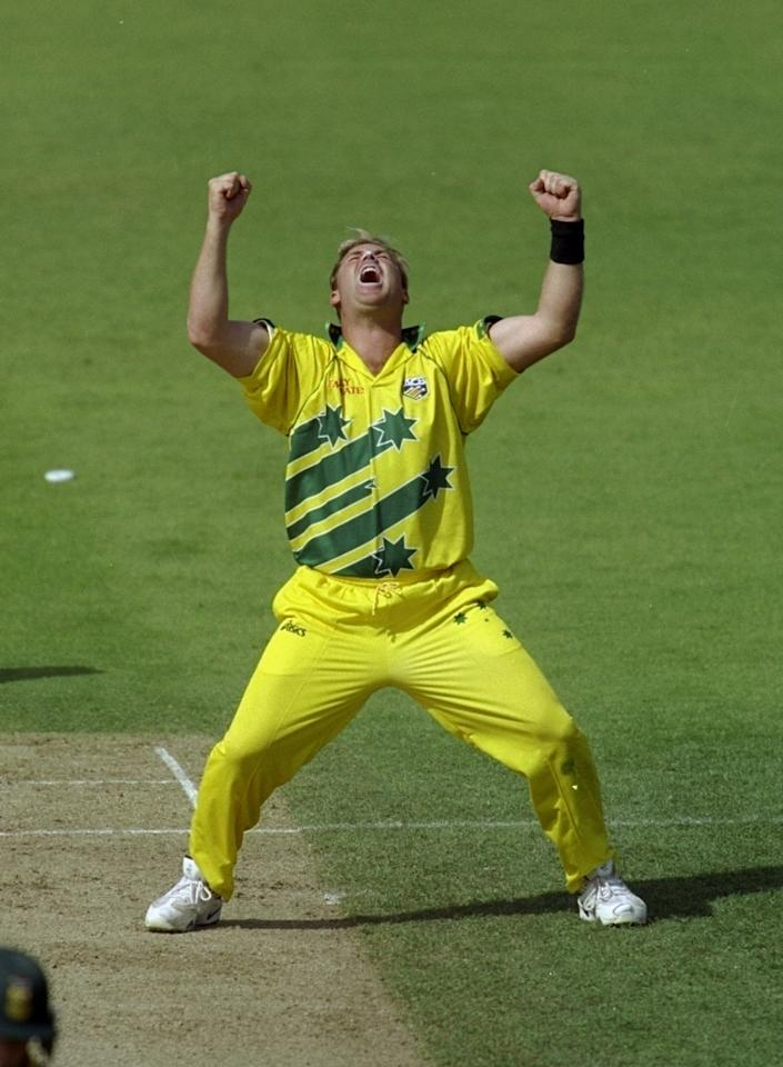 17 Jun 1999:  Shane Warne of Australia celebrates a South African wicket in the World Cup semi-final at Edgbaston in Birmingham, England. Warne took 4 for 29 and the Man of the Match award as the match finished a tie and Australia went through after finishing higher in the Super Six table. \ Mandatory Credit: Craig Prentis /Allsport