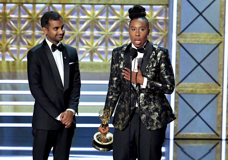 "Writers Aziz Ansari and Lena Waithe accept the Outstanding Writing for a Comedy Series award for ""Master of None"" onstage during the 69th Annual Primetime Emmy Awards at Microsoft Theater on Sept. 17, 2017 in Los Angeles, California."