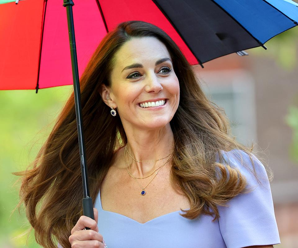 Kate Middleton with an umbrella over her head.