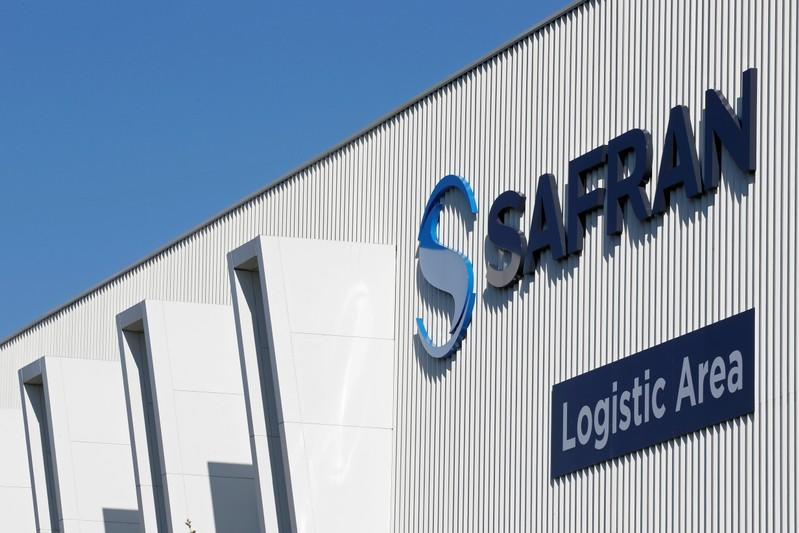 FILE PHOTO: The Safran company logo is pictured at the company's logistic area in Colomiers near Toulouse