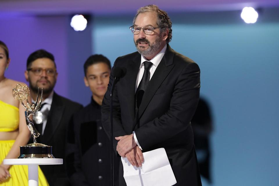 """Scott Frank, director of """"The Queen's Gambit,"""" at the 73rd Emmy Awards."""