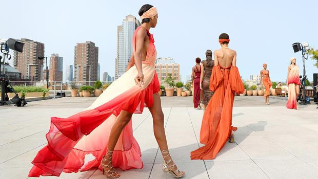 Models pose during the Bronx & Banco presentation at New York Fashion Week, September 15, 2020 at Spring Studios Terrace in New York City. / Credit: Arturo Holmes/Getty Images for Bronx & Banco