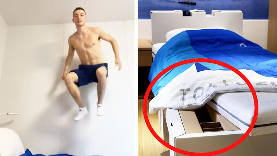 Gymnast Rhys McClenaghan (pictured left) jumping on his bed and (pictured right) the cardboard beds in the Olympic village in Tokyo.
