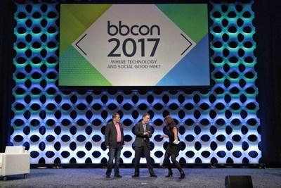 Blackbaud Chief Products Officer Kevin McDearis and CTO Mary Beth Westmoreland, and Microsoft's General Manager of Tech for Social Impact Justin Spelhaug announce newly expanded partnership for nonprofits at bbcon 2017.