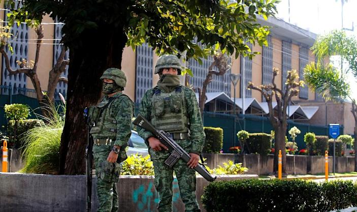 The blast left a 40-centimeter (16-inch) hole in an exterior wall of the US consulate in Guadalajara, pictured here (AFP Photo/Ulises Ruiz)